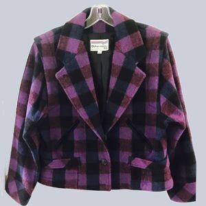 Jackets & Blazers - Vintage Purple + Indigo Plaid Cropped Jacket